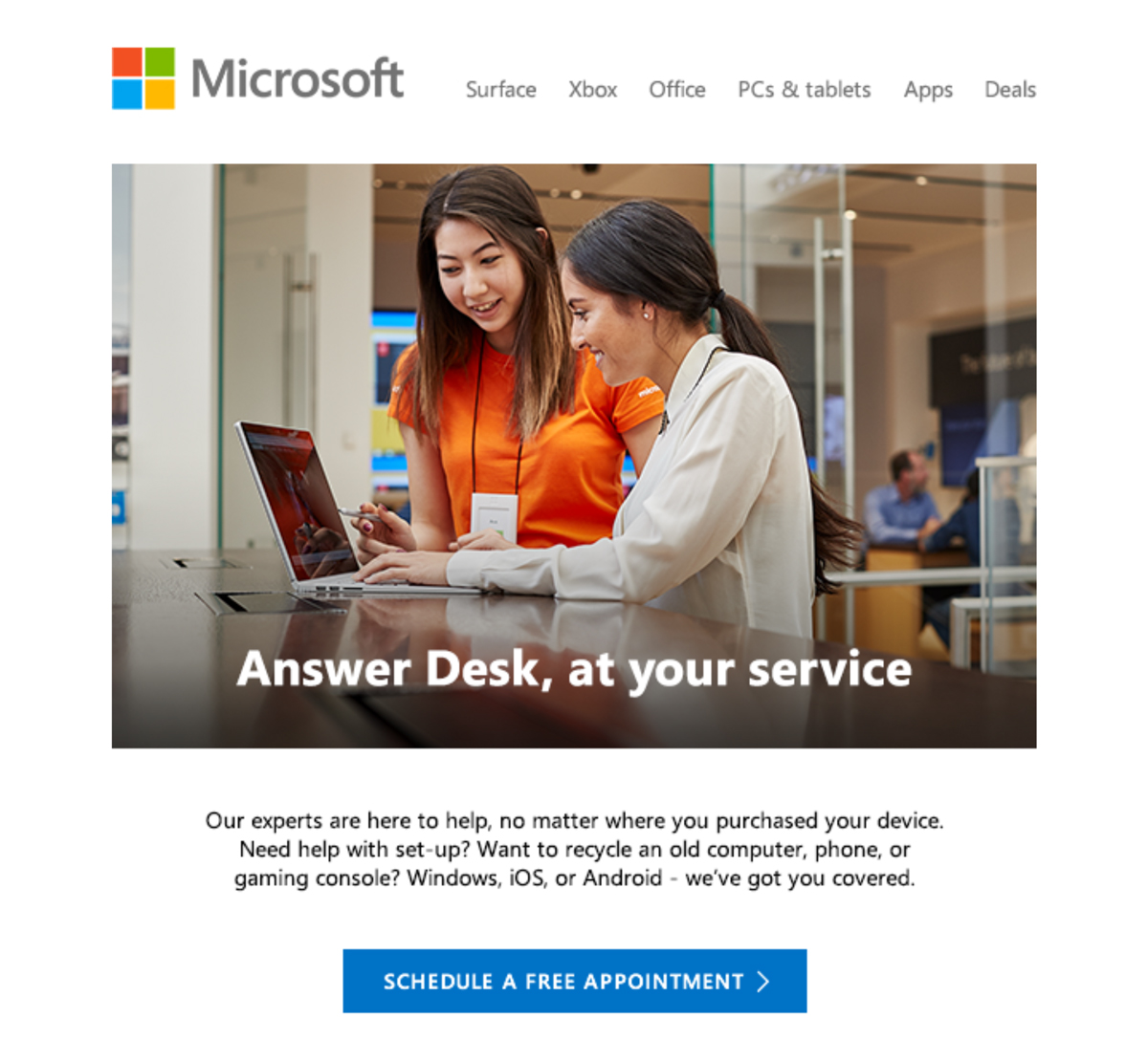 Microsoft Store -- some free services